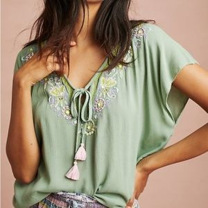 Anthropologie Floreat Green Embroidered Gauzy Top